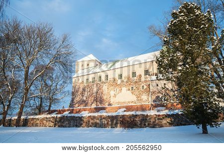 Turku Castle In Winter Season, Medieval Building