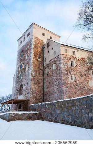 Turku Castle In Winter, Vertical Photo