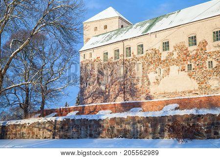 Turku Castle In Winter, Medieval Building Facade