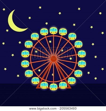 Night Ferris Wheel With Illumination, Vector Illustration In Cartoon Flat Style. Ferris Wheel, Moon