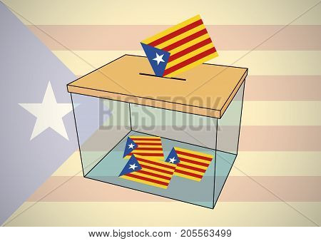 Ballot Box For Catalonia Referendum With Some Votes Of Independentist Catalonian Flags