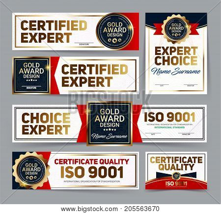 Set of vector mini certificate quality banners with line protection and gold award emblem ISO 9001 certified Vector illustration