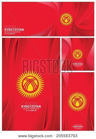 Kyrgyzstan flag abstract colors background. Collection banner design. brochure vector illustration.