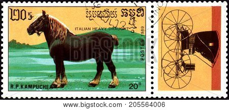 R.P. KAMPUCHEA - CIRCA 1989: A stamp printed in R.P. Kampuchea shows a Italian heavy draught horse, series breeds of horses