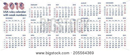 2018 calendar grid american rules with weeks numbers vector illustration isolated on white background. For english quarterly templates design or calendar pages.