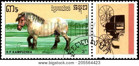 R.P. KAMPUCHEA - CIRCA 1989: A stamp printed in R.P. Kampuchea shows a Brabant horse, series breeds of horses