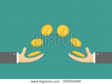 Giving and taking Hands Flying golden coin money dollar sign. Helping hand concept. Flat design style. Business support credit icon set. Green background. Vector illustration.