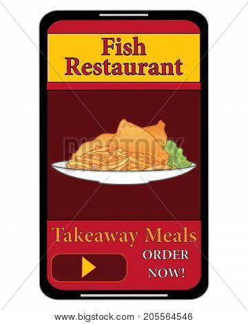 an illustration of a mobile phone food order for fish and chips delivery on a white background