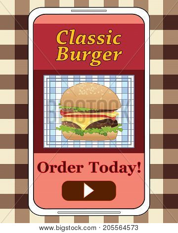 an illustration of an advert for hamburger delivery on a modern phone with a delicious burger in a bun on a white handset on a gingham background