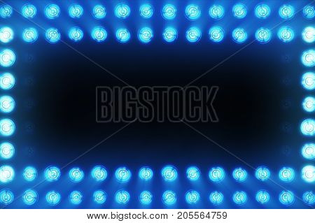 The Wall Of Incandescent Lamps Is Bright Blue. Led Background