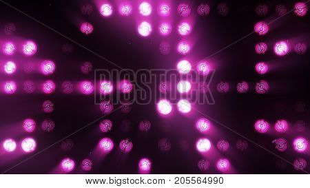 The Wall Of Incandescent Lamps Is Bright Purple. Led Background