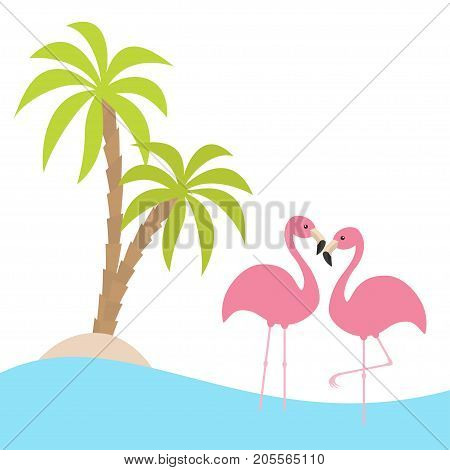 Two pink flamingo standing on one leg. Palms tree island ocean see water wave. Exotic tropical bird. Zoo animal collection. Cute cartoon character. Love Flat design. White background. Vector