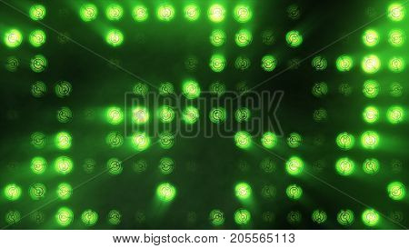 The Wall Of Incandescent Lamps Is Bright Green. Led Background
