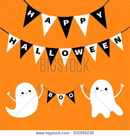 Happy Halloween. Flying ghost spirit holding bunting flag Boo. Two white scary ghosts. Cute cartoon spooky character. Smiling face hands. Orange background. Greeting card. Flat design. Vector