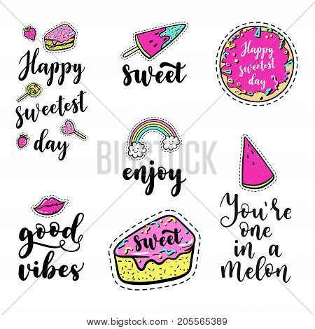 Vector Quote Elements Set With Lettering: Happy Sweetest Day, Good, Vibes, Fashion Fun Patches: Lip,