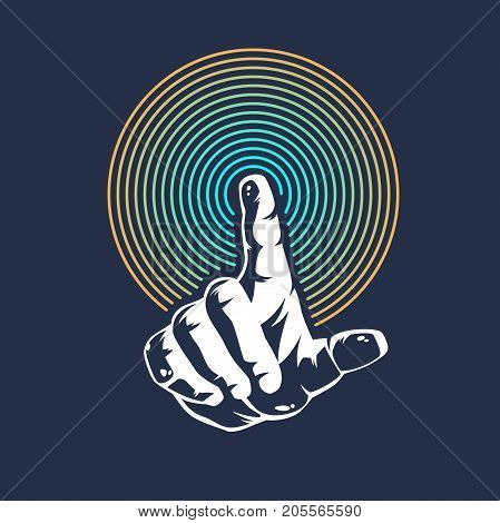 Your thumb points forward. Modern template for posters.Vector illustration.