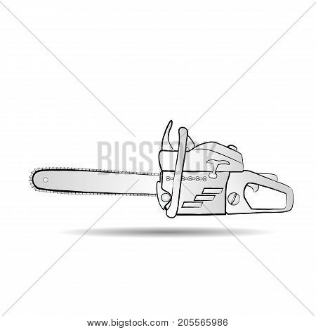 Chainsaw icon in flat style isolated on white background. For your design, logo. Vector illustration.