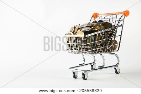 Shopping Cart Full Of Coins Money