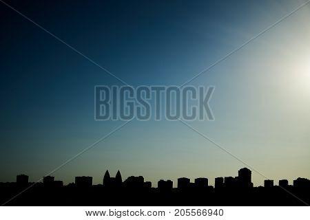 Beautiful Silhouette Sunset Over The Baku City, Azerbaijan