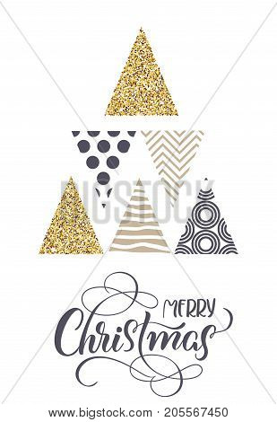 stylized Christmas trees and the text of Merry Christmas. Vector illustration EPS10.