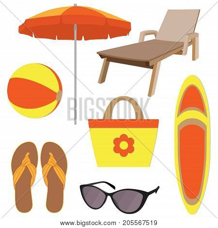Summer Vacation Accessories In Flat Style, Set. Chaise Longue, Slippers, Sun Glasses, Sun Umbrella,