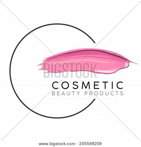 Makeup design template with place for text. Cosmetic Logo concept of liquid nail polish and lipstick smear strokes