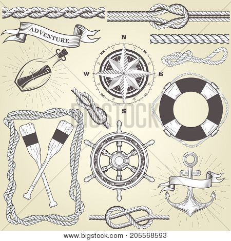 Vintage seafaring elements - steering wheel oars rope frame and knots