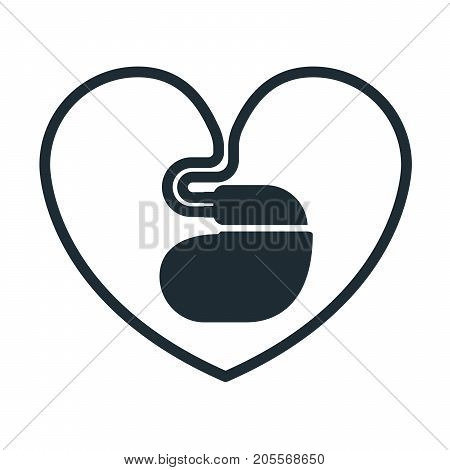Cardiac pacemaker icon with heart-shaped cord, heartbeat