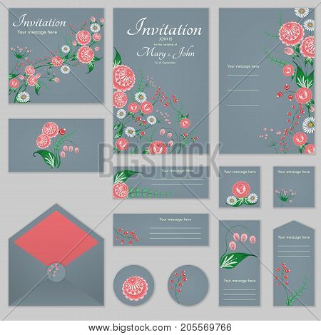 A Set Of Invitations With Ornament In The Slavic Folk Style 04