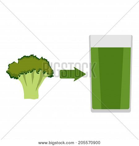 Fresh Broccoli And A Glass Of Broccoli Juice Around. The Arrow In The Direction From The Broccoli To