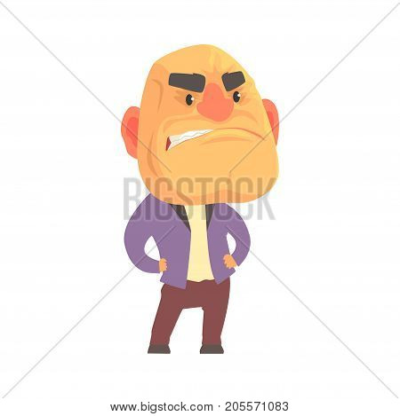 Bald angry man with aggressive facial expressions, despair aggressive person cartoon character vector illustration isolated on a white background