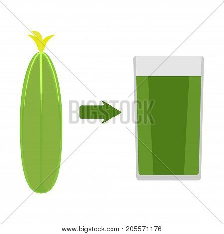 Fresh Cucumber And A Glass Of Cucumber Juice Around. The Arrow In The Direction From The Cucumber To