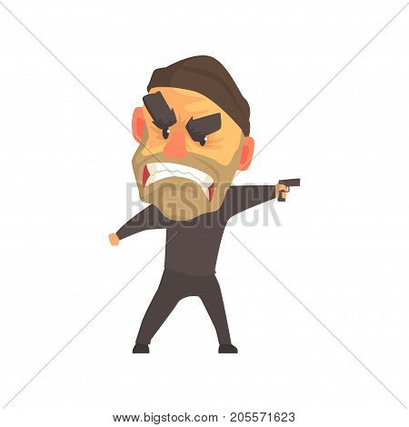 Furious male criminal with gun in his hand cartoon vector illustration isolated on a white background