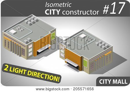 Isometric building of mall in modern design. Illustration of urban or rural houses and dwellings. For your infographic, city, map or business design. Detailed vector clip art with easy editable colors.