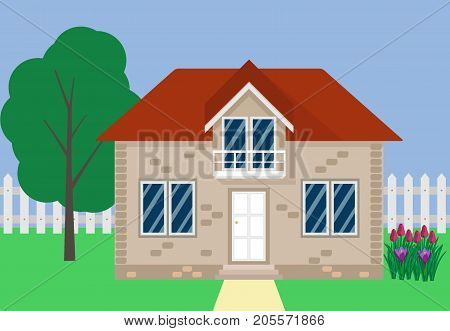 Private Suburban House With A White Picket Fence, A Tree, A Flower Bed. Vector Illustration In Flat