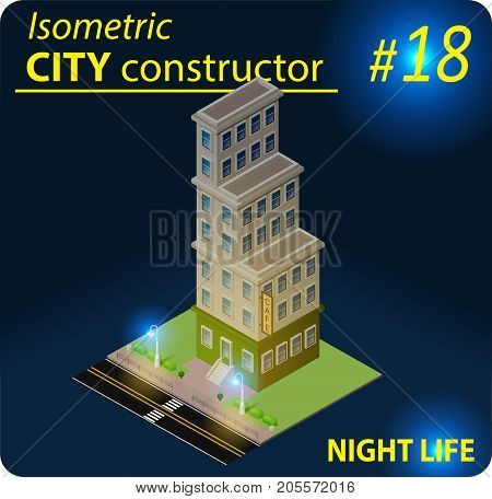 Isometric residential building in in night light. Illustration of urban or rural houses and dwellings. For your infographic, city, map or business design. Detailed vector clip art with easy editable colors.