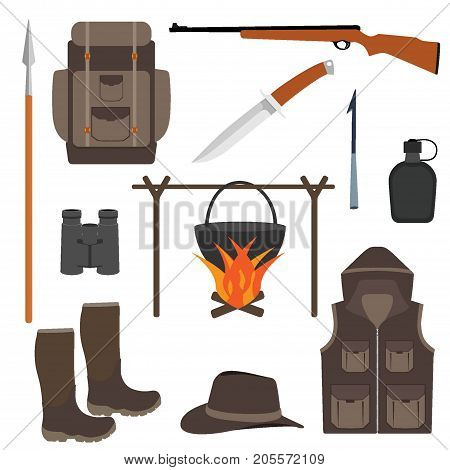 Hunting Icon Set, Isolated. Hunting Equipment In Flat Style, Vector Illustration. Hunting Backpack,