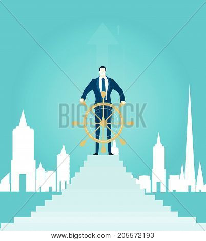 Successful businessmen staying on top of the stairs with the ship steering wheel in the City. Business concept illustration