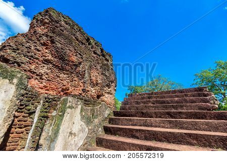 Interior view of Royal Palace of King Parakramabahu the Great in the world heritage city Polonnaruwa, Sri Lanka. Stairway to next floor