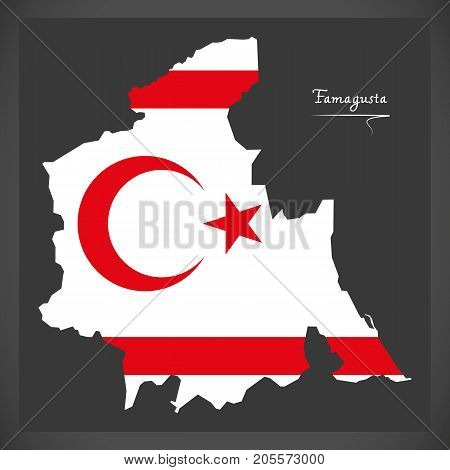 Famagusta Map Of Northern Cyprus With National Flag Illustration