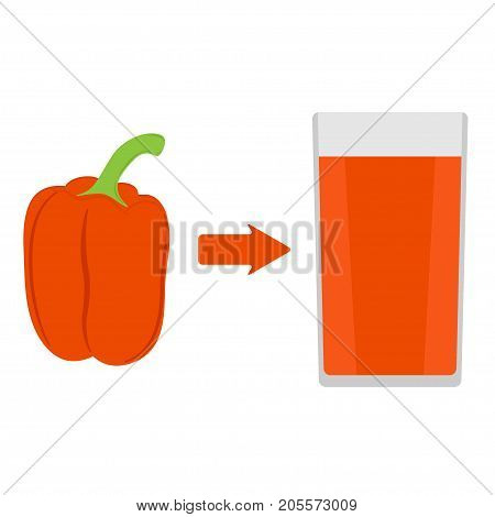 Fresh sweet pepper and a glass of sweet pepper juice around. The arrow in the direction from the pepper to juice. Vector illustration in flat style, isolated..