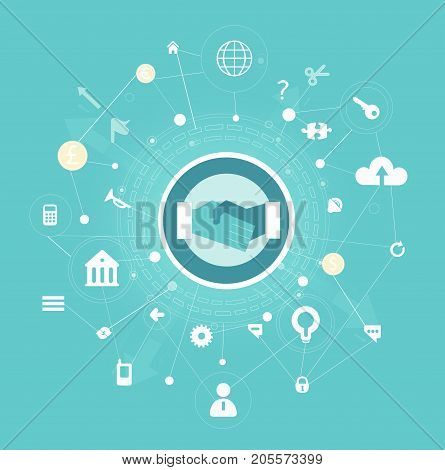 Business background made of many icons and symbols with the hands shaking symbol in the middle. Busy and competitive modern life concept illustration
