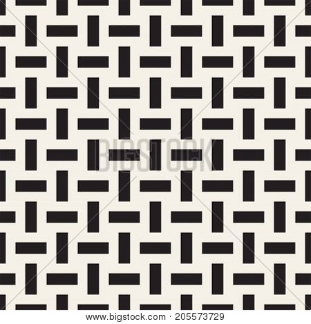 Crosshatch vector seamless geometric pattern. Crossed graphic rectangles background. Checkered motif. Seamless black and white texture of crosshatched bold lines. Trellis simple fabric print.
