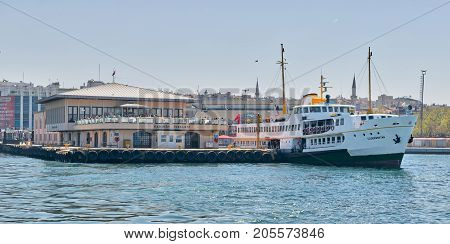 Istanbul Turkey - April 26 2017: Ferry boat at Kadikoy Ferry Terminal getting ready for sailing after passengers loading at midday