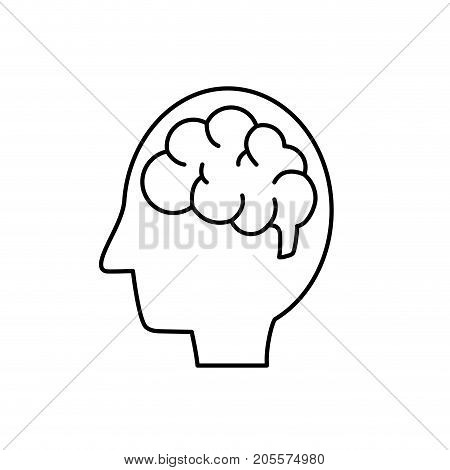 line silhouette side man with anatomy brain vector illustration