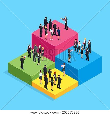 Isometric business concept of teamwork and competition. 3d businessmen standing on the chart which shows the level of their income. Teams of businessmen with leaders. Vector illustration.