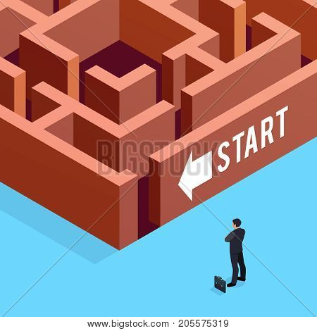 Isometric concept of business strategy. 3d businessman stands in front of the maze. Vector illustration.