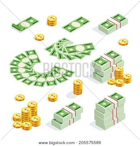Set of isometric money isolated on white background. 3d coins and banknotes in bunches money fan money bundles and alone. Vector illustration.