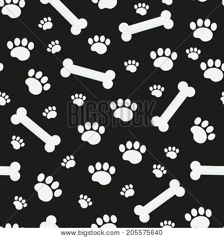 Dog bones seamless pattern. Bone and traces of puppy paws repetitive texture. Doggy endless background. Vector illustration