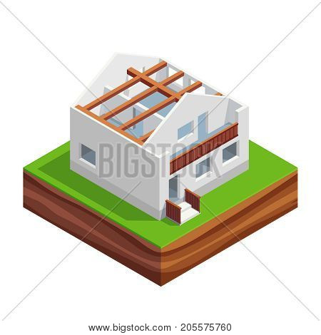Isometric concept of building a house. two-storey house with interior walls and roof beams. House construction phases. Vector illustration.